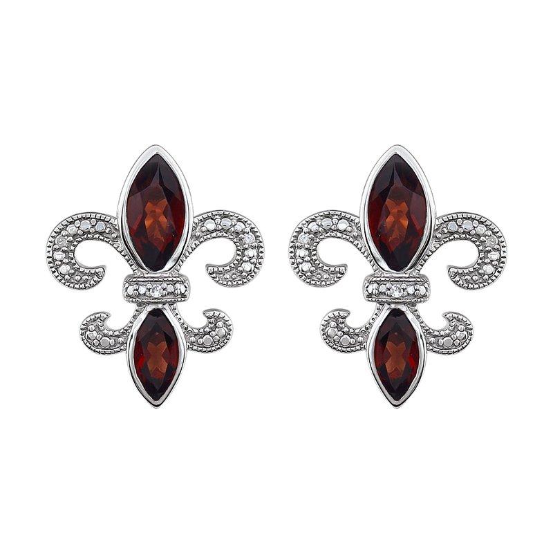 Ron's  Diamond, Ruby Fleur de Lis Earrings