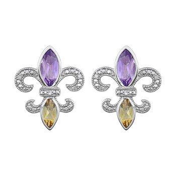 Diamond, Amethyst & Citrine Fleur De Lis Earrings in Sterling Silver