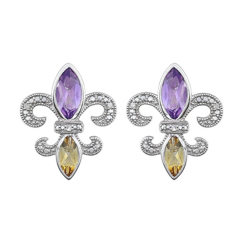 Ron's  Diamond, Amethyst & Citrine Fleur De Lis Earrings in Sterling Silver