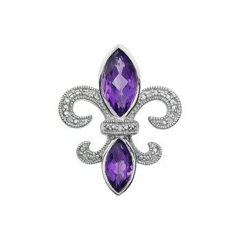 Diamond, Amethyst Gemstone Fleur De Lis Pendant