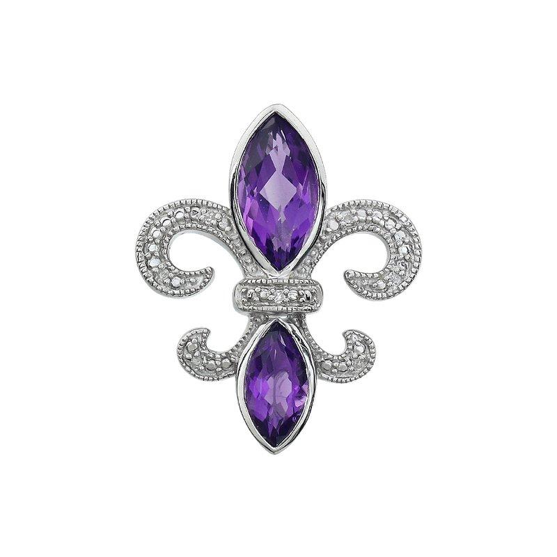 Ron's  Diamond, Amethyst Gemstone Fleur De Lis Pendant