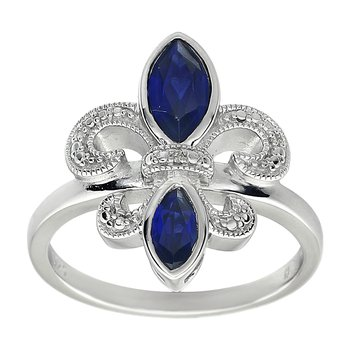 Diamond, Blue Sapphire Gemstone Fleur De Lis Ring