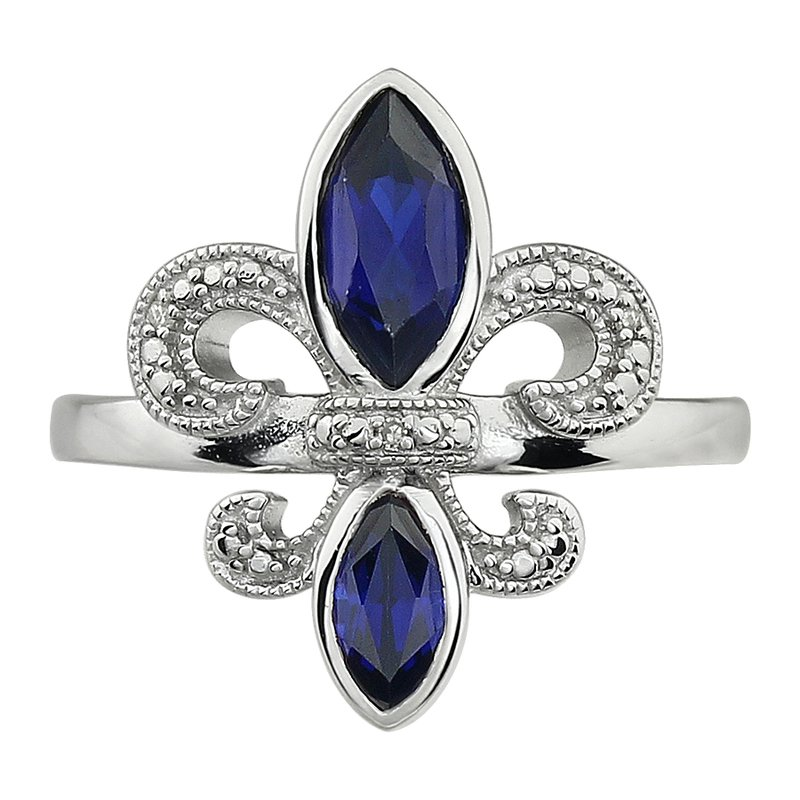 Ron's  Diamond, Blue Sapphire Gemstone Fleur De Lis Ring