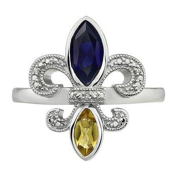 Diamond, Blue Sapphire & Peridot Gemstone Fleur De Lis Ring