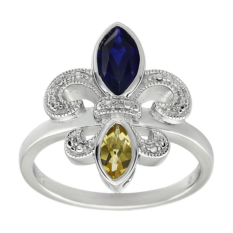 Ron's  Diamond, Blue Sapphire & Peridot Gemstone Fleur De Lis Ring