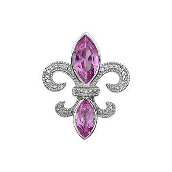 Diamond, Pink Tourmaline Gemstone Fleur De Lis Pendant