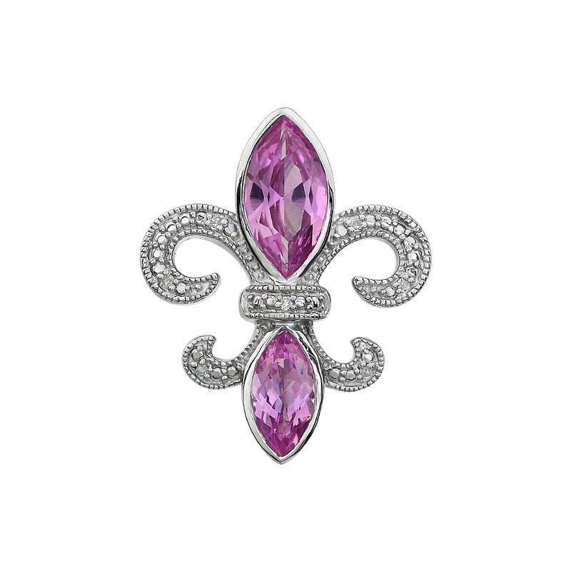 Ron's  Diamond, Pink Tourmaline Gemstone Fleur De Lis Pendant