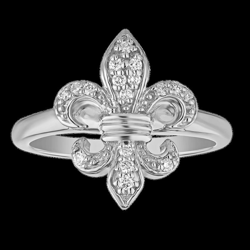 Shefi Diamonds 14K 0.15CT FLEUR DE LIS PRONG SET