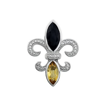 Diamond, Onyx & Peridot Gemstone Fleur De Lis Pendant
