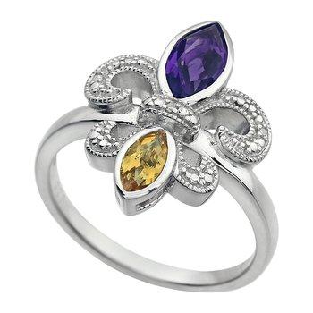 Diamond Gemstone Fleur de Lis Ring