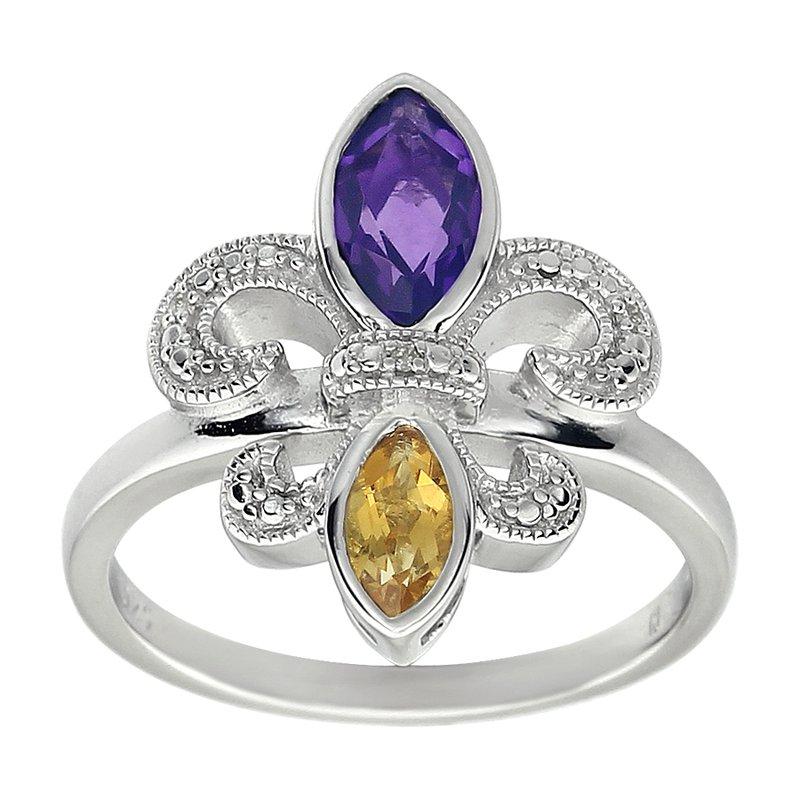 Ron's  Diamond Gemstone Fleur de Lis Ring