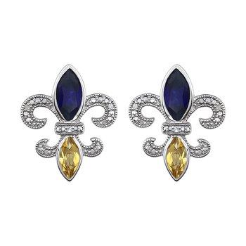Diamond, Blue Sapphire & Peridot  Fleur de Lis Earrings