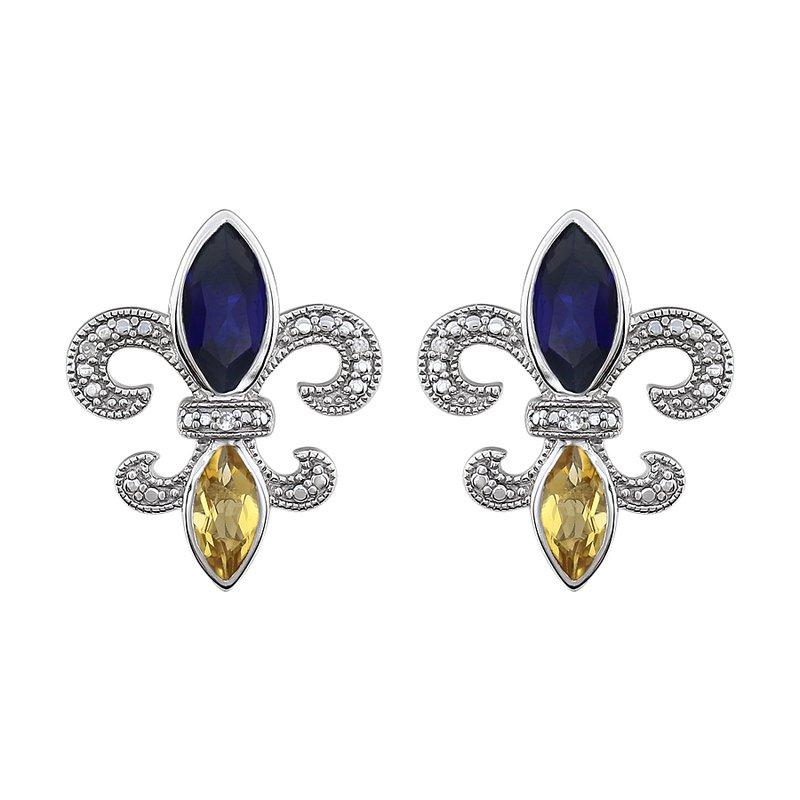 Ron's  Diamond, Blue Sapphire & Peridot  Fleur de Lis Earrings