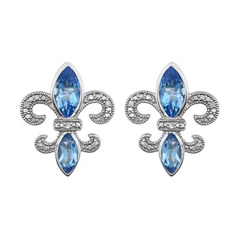 Diamond,  Aquamarine Fleur de Lis Earrings