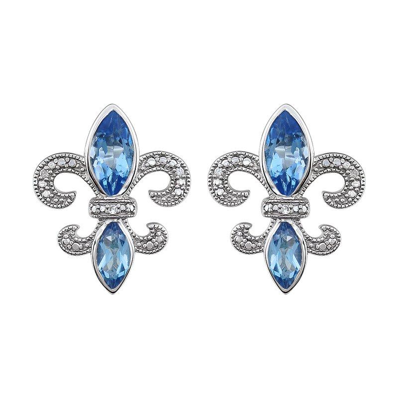 Ron's  Diamond,  Aquamarine Fleur de Lis Earrings