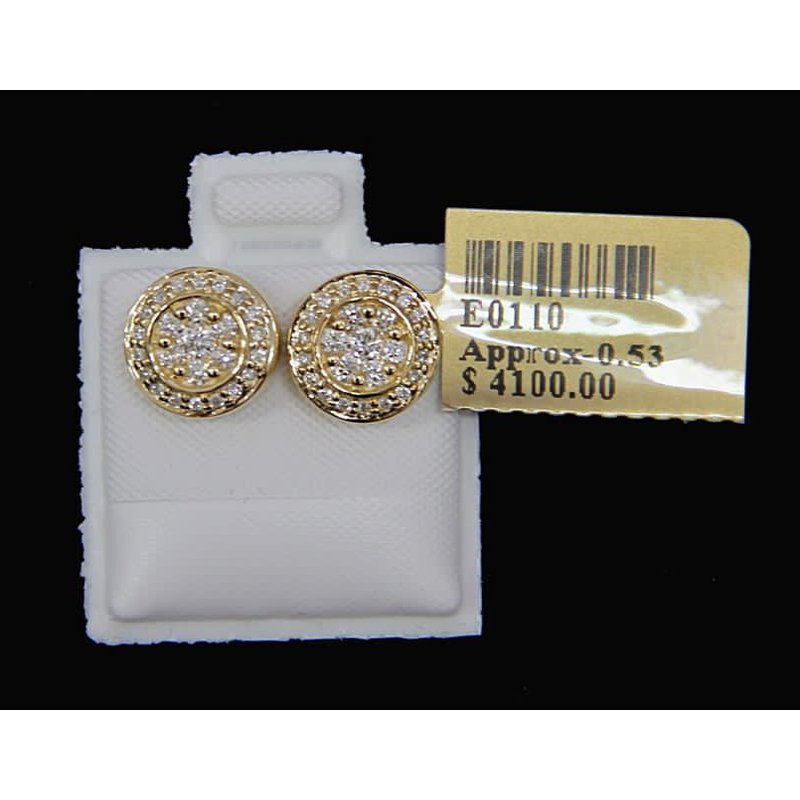 Custom Jewelry Yellow Gold Diamond Studs
