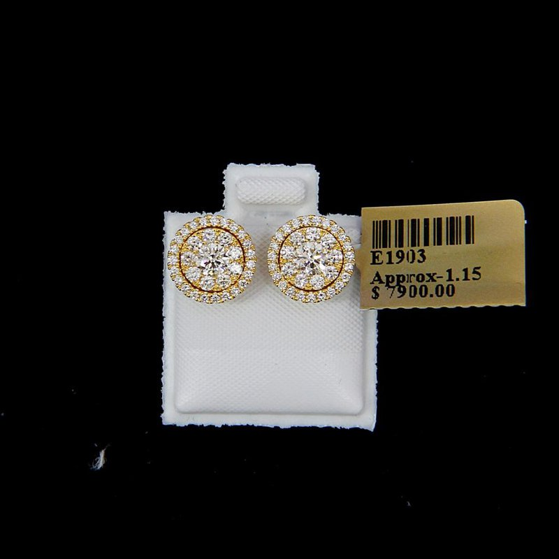 Custom Jewelry Yellow Gold Diamond Studs