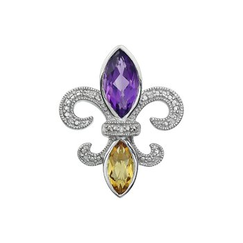 Diamond, Amethyst & Citrine Gemstone Fleur De Lis Pendant