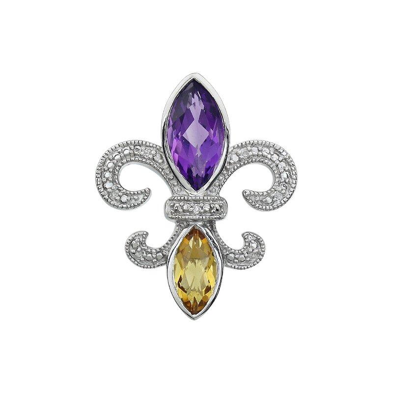 Ron's  Diamond, Amethyst & Citrine Gemstone Fleur De Lis Pendant