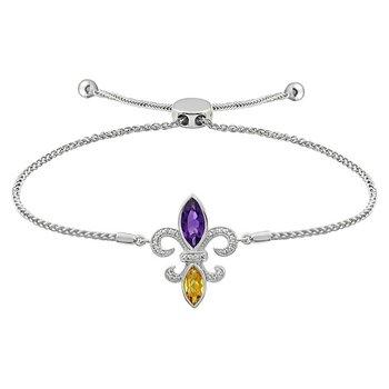 Diamond, Amethyst & Citrine Gemstone Fleur De Lis Bracelet