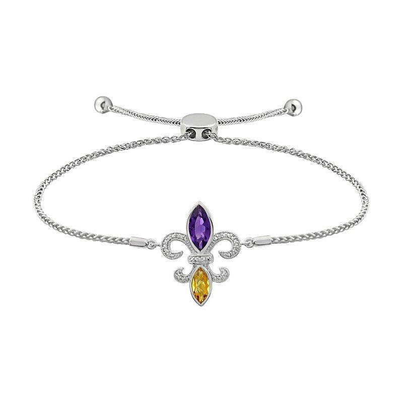 Ron's  Diamond, Amethyst & Citrine Gemstone Fleur De Lis Bracelet