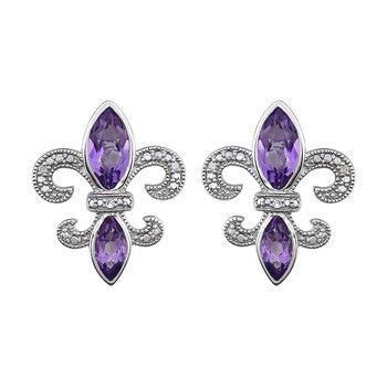 Diamond, Amethyst Fleur de Lis Earrings