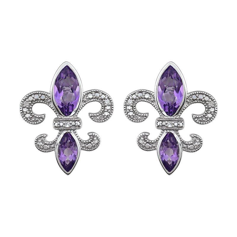 Ron's  Diamond, Amethyst Fleur de Lis Earrings