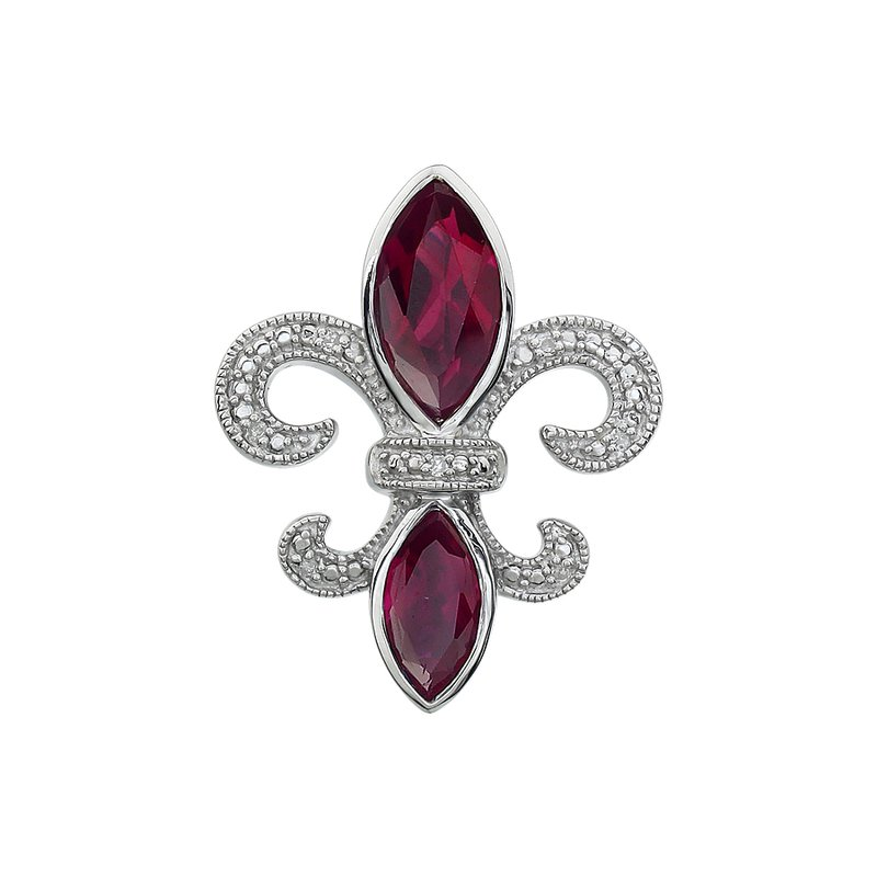 Ron's  Diamond, Ruby Gemstone Fleur De Lis Pendant