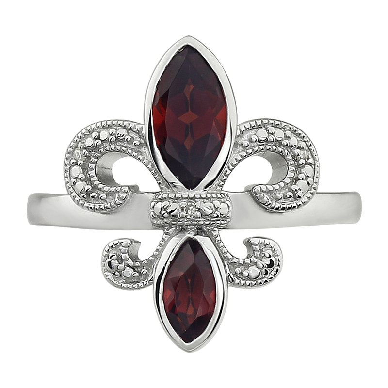 Ron's  Diamond, Ruby Gemstone Fleur De Lis Ring