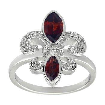 Diamond, Ruby Gemstone Fleur De Lis Ring