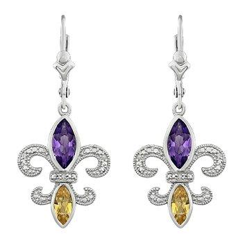 Diamond,  Amethyst & Citrine Fleur de Lis Dangle Earrings