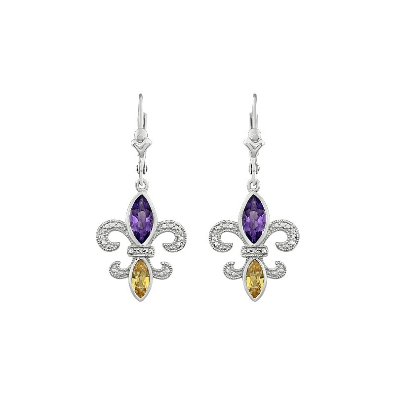 Ron's  Diamond,  Amethyst & Citrine Fleur de Lis Dangle Earrings