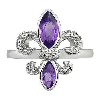 Diamond, Amethyst Fleur De Lis Ring